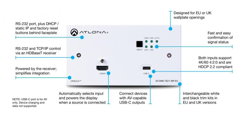 2x1 HDBaseT switch, HDMI & USB-C